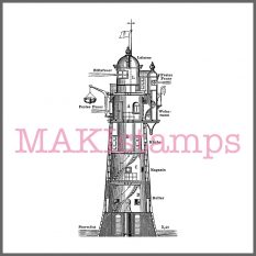 german lighthouse rubber stamp