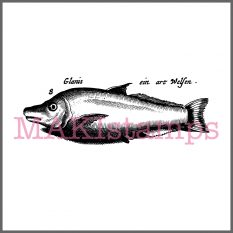 vintage style fish rubber stamp MAKIstamps