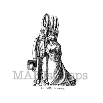 Bride and Groom as rabbits rubber stamp makistamps