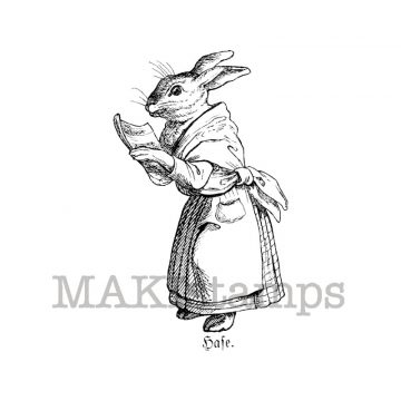 Female Hare with book makistamps