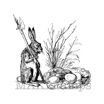 Bunny with lance and nest of eggs makistamps