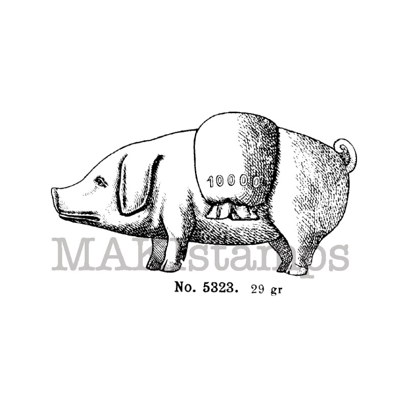 Lucky pig rubber stamp makistamps