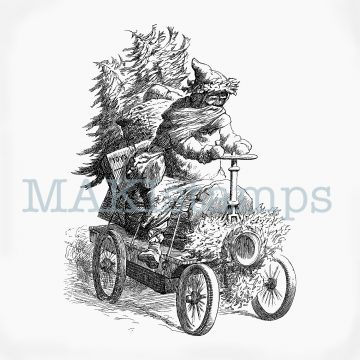 Rubber stamp Father Christmas with car MAKIstamps
