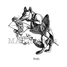 Valentine rubber stamp fox with letter MAKIstamps