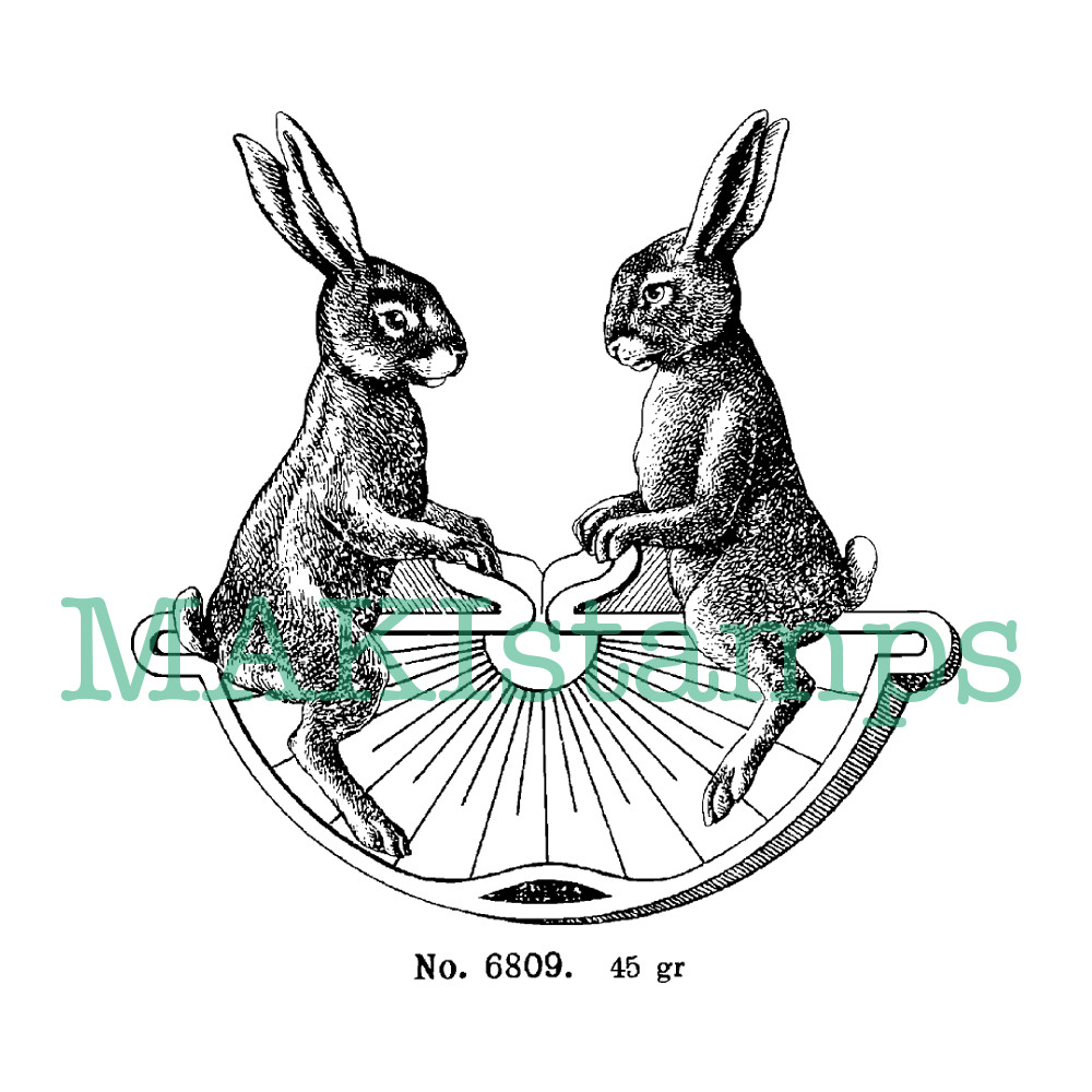 rabbit rubber stamp easter stamp MAKIstamps