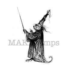 Halloween rubber stamp monkey wizard MAKIstamps