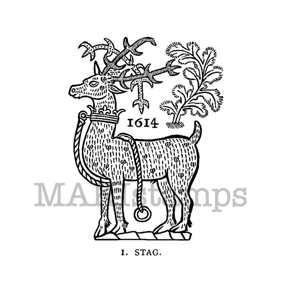 Rubber Stamp Of A Stag Christmas Deer Unmounted