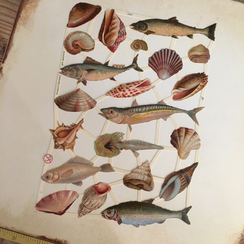 German paper scraps fish vintage style MAKIstamps