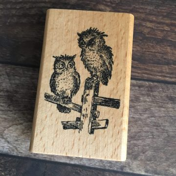 Owl rubber stamp wood mounted MAKIstamps