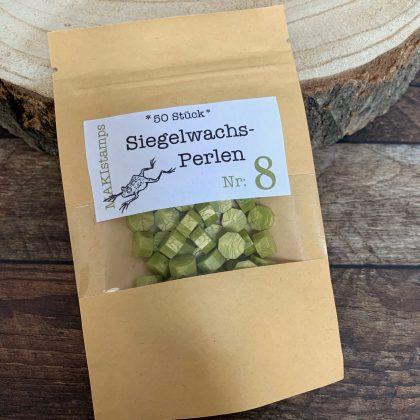 sealing wax beads light green shimmer MAKIstamps