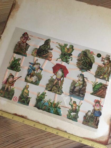 German paper scraps die cuts vintage frogs