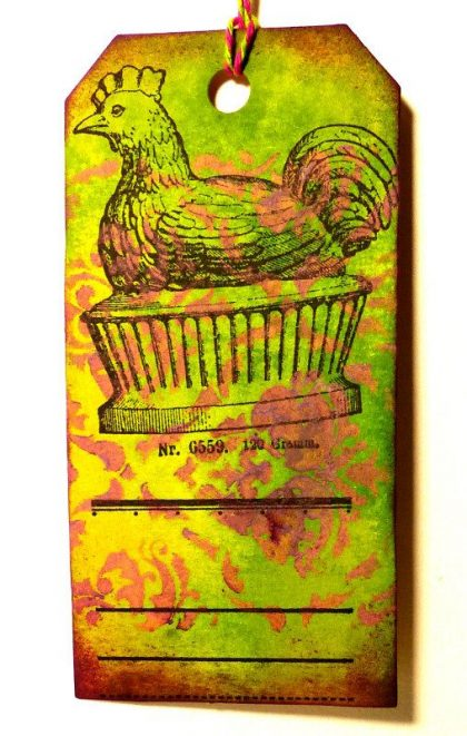 easter rubber stamp hen