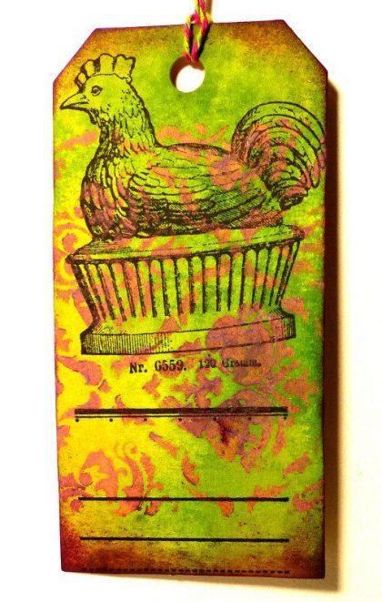 easter rubber stamp hen