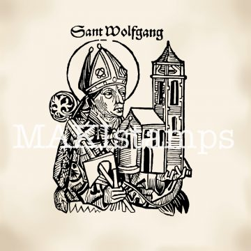 Medieval rubber stamp Saint Wolfgang patron saint of Bavaria MAKIstamps rubber art stamps