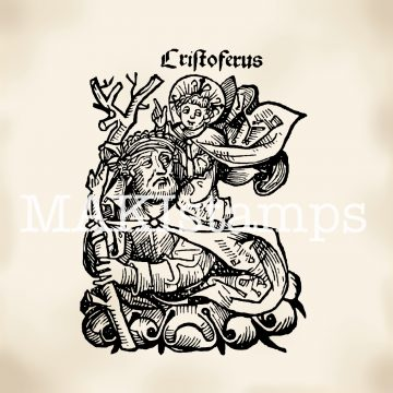 Rubber stamp Saint Christopher medieval woodcut MAKIstamps