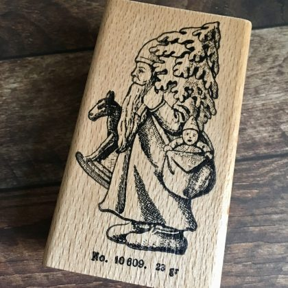 wood mounted Christmas rubber stamp
