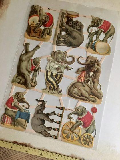 German paper scraps Circus elephants MAKIstamps