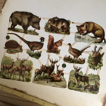 German vintage paper scraps forest animals MAKIstamps