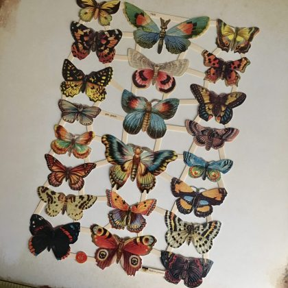 German vintage paper scraps butterflies MAKIstamps