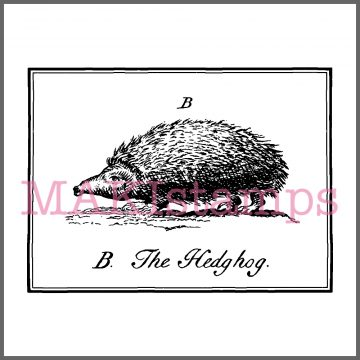 rubber stamp vintage hedgehog