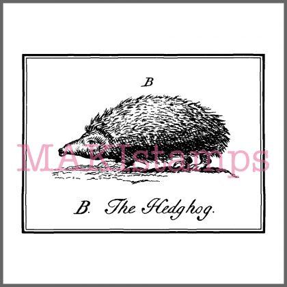 rubber stamp vintage hedgehog