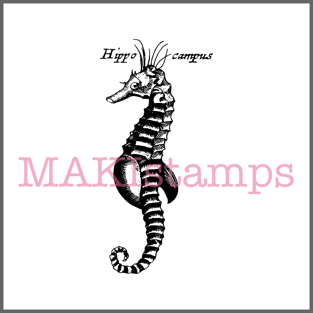 sea horse rubber art stamp