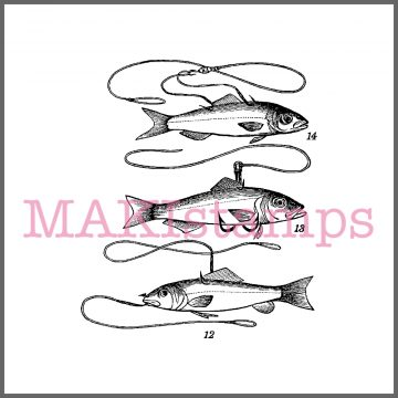 fishing rubber stamp fish fishes