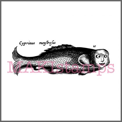 fish with face rubber stamp MAKIstamps