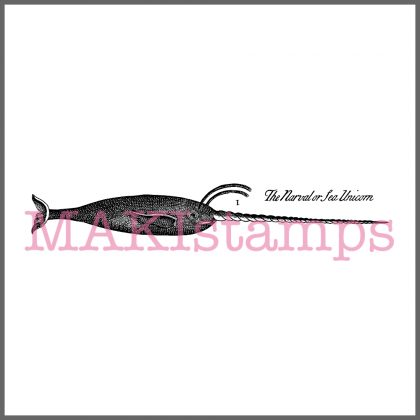 rubber stamp narval sea unicorn stamp MAKIstamps