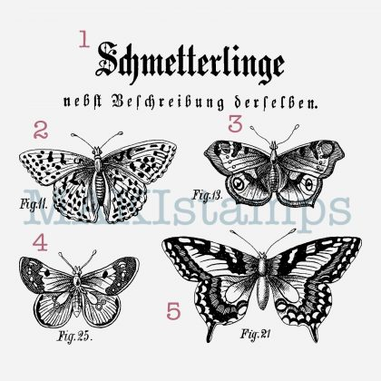 rubber stamp set butterflies MAKIstamps