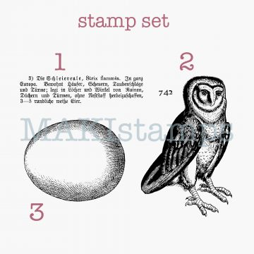 rubber stamp set owl and egg MAKIstamps