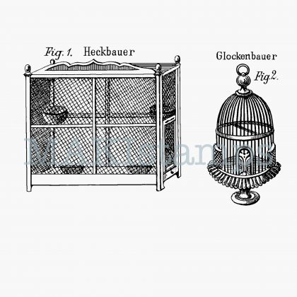 rubber stamp set birds cages MAKIstamps