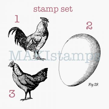 egg rubber stamp hen and rooster MAKIstamps