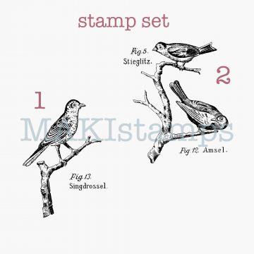 rubber stamp set birds MAKIstamps