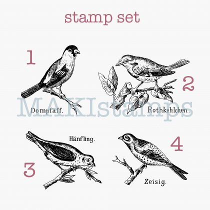 rubber stamp set birds MAKIstamps