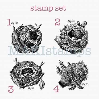 rubber stamp set birds nests MAKIstamps