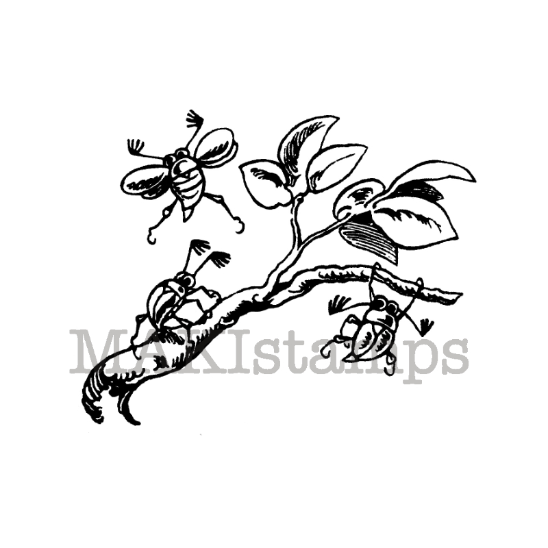 Tiny chafers rubber stamp makistamps