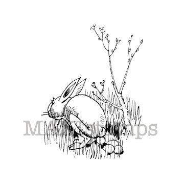 Easter bunny rubber stamp makistamps