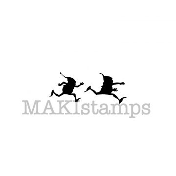 silhouette rubber stamp running brownies