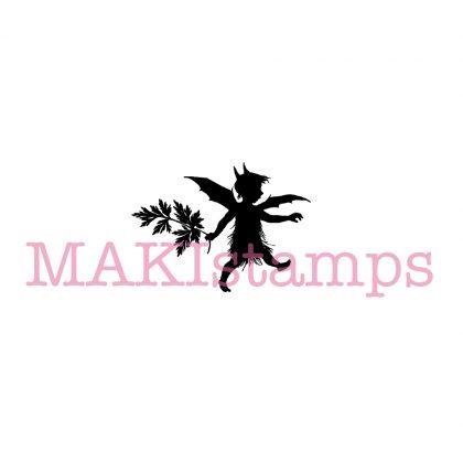 Silhouette rubber stamp little garden imp