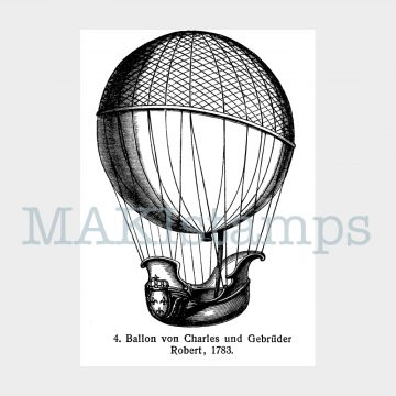 rubber stamp captive balloon MAKIstamps
