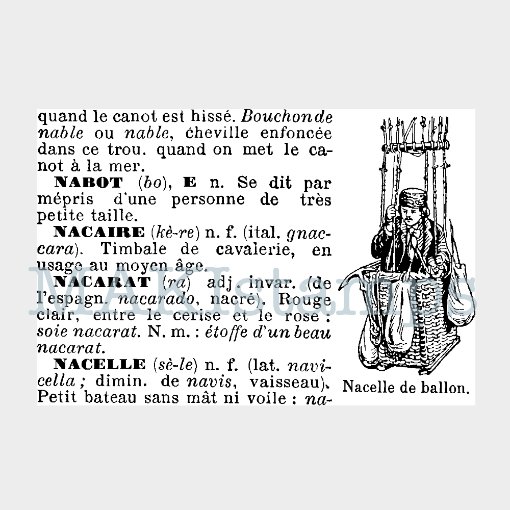 balloonist rubber stamp MAKIstamps french text stamp