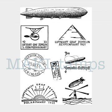 mail art rubber stamp set MAKIstamps postage stamp set