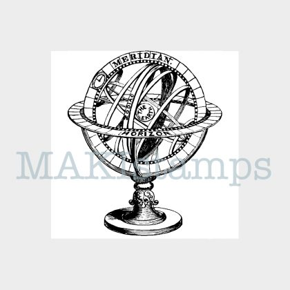 globe rubber stamp MAKIstamps