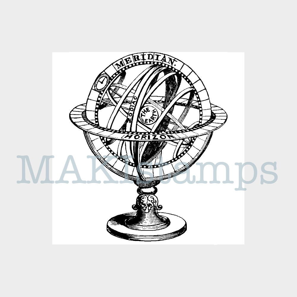 vintage globe rubber stamp travel MAKIstamps