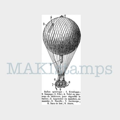captive balloon rubber stamp MAKIstamps new collection