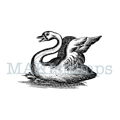 woodcut stamp swan MAKIstamps