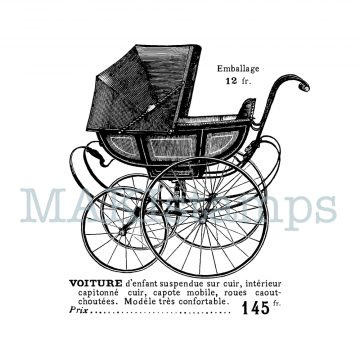 Rubber stamp vintage stroller MAKIstamps