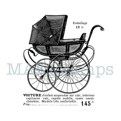 rubber stamp victorian pram MAKIstamps