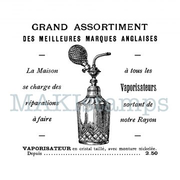 rubber stamp perfume advertisement